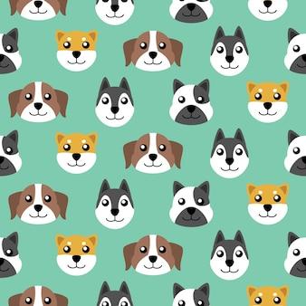 シームレスなかわいい子犬のベクトルパターンの背景