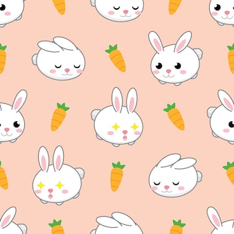 Seamless cute rabbit and carrot vector pattern