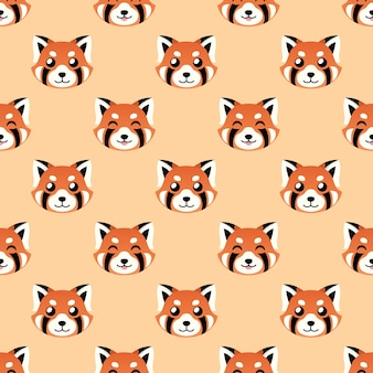Seamless cute red panda face vector pattern background