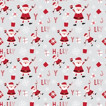 Seamless cute santa claus and decorative christmas pattern design with red and white color