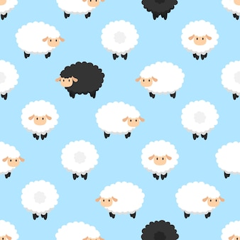 Seamless cute sheep vector pattern background