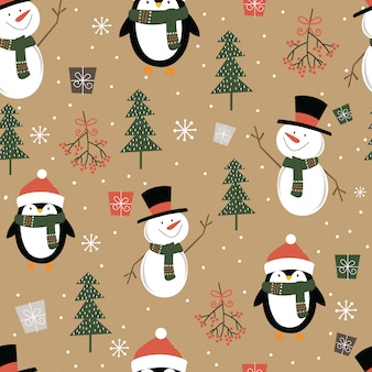 Seamless cute snowman and penguin, christmas ornament pattern