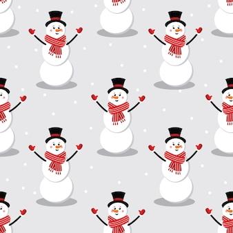Seamless cute snowman