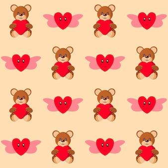 Бесшовные милый тедди держит сердце и любовь ангел узор фона.