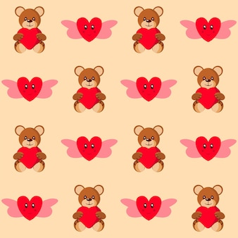 Seamless cute teddy holding heart and love angel pattern background.