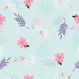 Seamless cute vintage floral pattern background