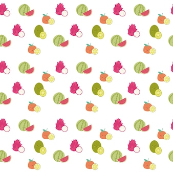 Seamless cute watermelon fruit pattern