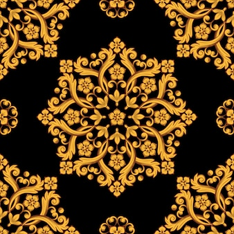 Seamless damask pattern background.