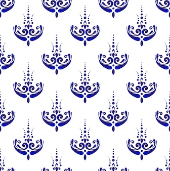 Seamless damask pattern, blue and white wallpaper