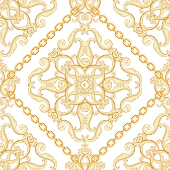 Seamless damask pattern. golden beige on white texture with chains.  illustration.