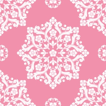 Seamless damask pattern on pink color