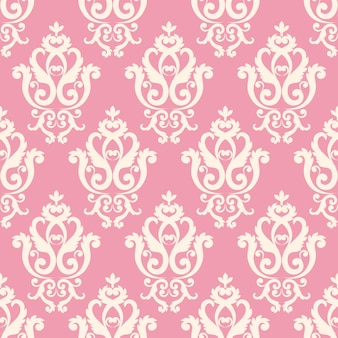Seamless damask pattern. pink texture in vintage rich royal style.