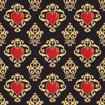 Seamless damask pattern with beautiful ornamental red heart with crown