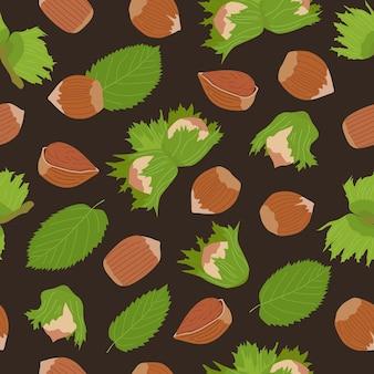 ヘーゼルナッツ、ナッツの殻と葉とのシームレスな暗い手描きパターン