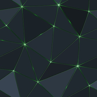Seamless dark polygon with green light.