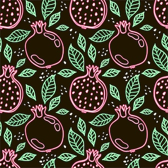 Seamless decorative black and red pattern with pomegranates