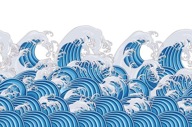 Бесшовные декоративный бордюр с волнами в китайском стиле