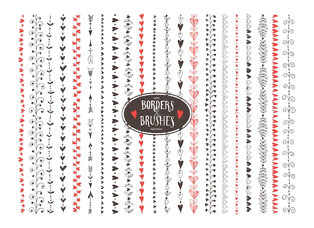 Seamless decorative doodle heart paintbrushes.