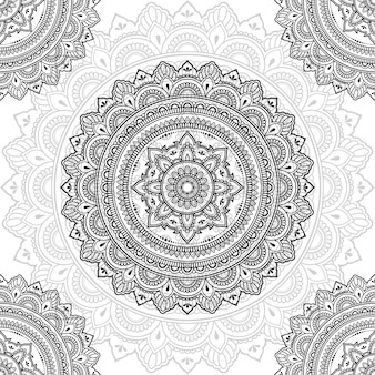Seamless decorative ornament in ethnic oriental style. circular pattern in form of mandala for henna, mehndi, tattoo, decoration.