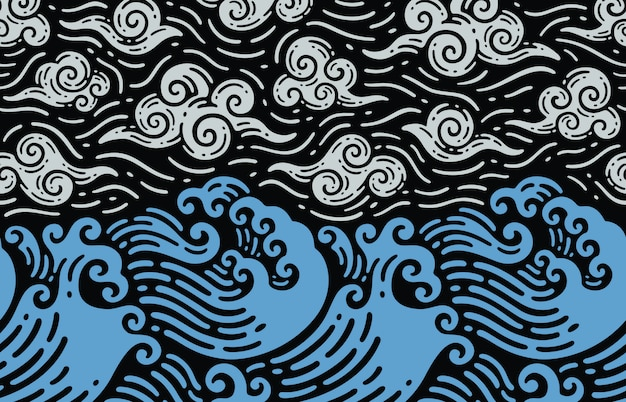 落書きヴィンテージの波と海のシームレスなデザイン