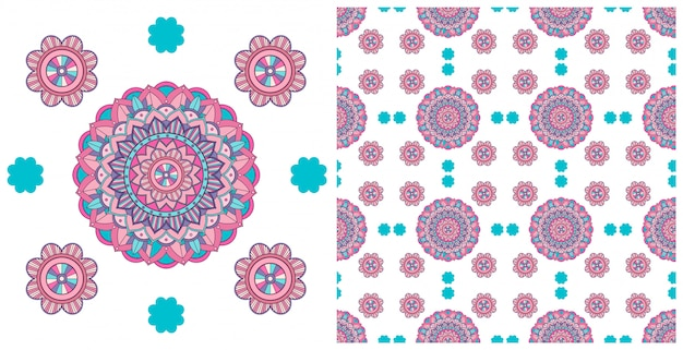 Seamless design with colorful mandalas pattern