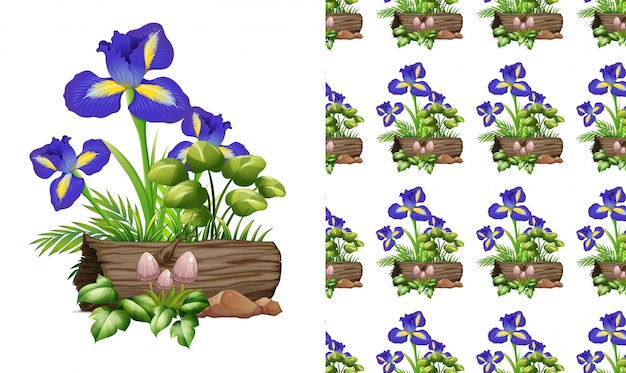Seamless design with iris flowers and log