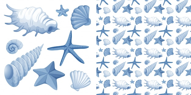 Seamless design with seashells