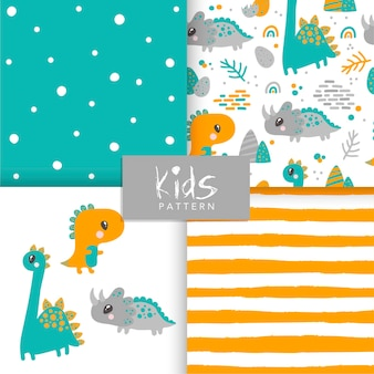 Seamless dinosaur animal pattern set. cute childish seamless pattern in cartoon style.
