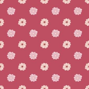 간단한 스타일의 작은 말미잘 꽃 봉오리 실루엣으로 매끄러운 디티 꽃 패턴입니다. 분홍색 배경입니다. 재고 그림입니다. 섬유, 직물, 선물 포장, 월페이퍼에 대한 벡터 디자인.