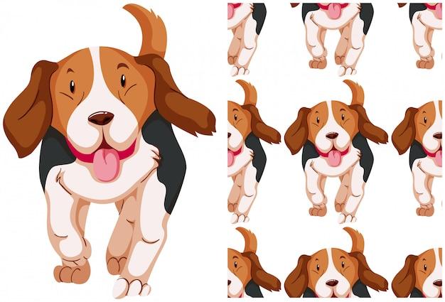 Бесшовные собака, изолированные на белом Бесплатные векторы
