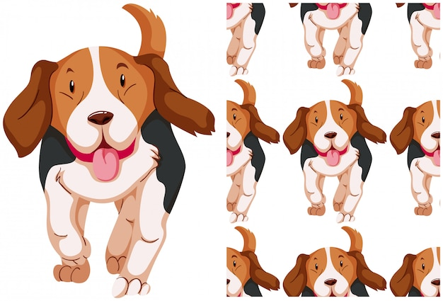 Seamless dog pattern isolated on white