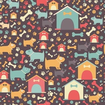 Strange Seamless Dog Pattern Vector Abstract Cartoon Background Home Remodeling Inspirations Basidirectenergyitoicom