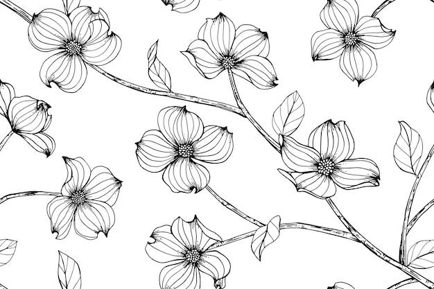 Seamless dogwood flower pattern background.
