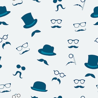Seamless doodle accessories of mustache hats and glasses pattern background vector illustration