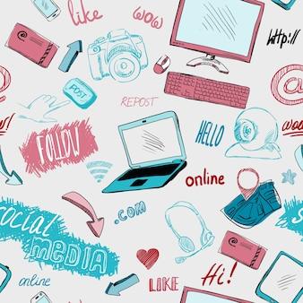 Бесшовные doodle блог социальных сетей связи шаблон фон векторных иллюстраций