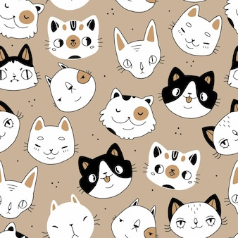 Seamless doodle cartoon cats faces seamless pattern on a beige background