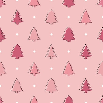 パステルピンクのシームレスな落書きクリスマスツリーパターン