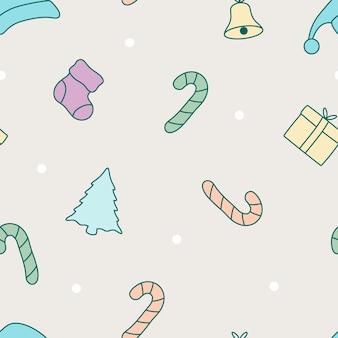 パステルカラーデザインのシームレスな落書きクリスマスツリーパターン