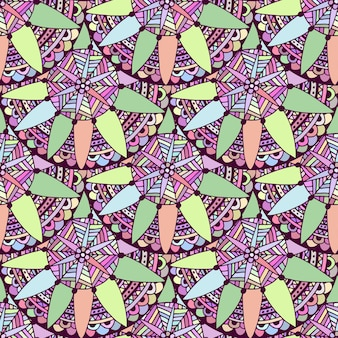 Seamless doodle floral background in vector. tribal ethnic pattern. zentangle for adult coloring book page.