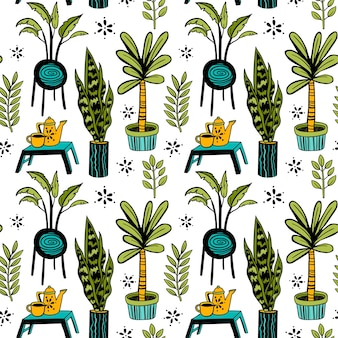 Seamless doodle pattern vector home plants set with tea set on a stand floral ornate
