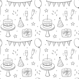 Seamless doodle pattern with festive cakes party hats gifts champagne and garlands