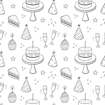 Seamless doodle pattern with festive cakes with candles party hats and champagne