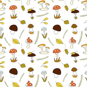 Бесшовный узор каракули с лесными грибами и осенними листьями и елью flatvector иллюстрации