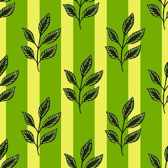 葉の小枝とのシームレスな落書きパターン。