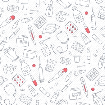 Seamless doodle pattern with medications, drugs, pills, bottles and health care medical elements. hand drawn vector illustration