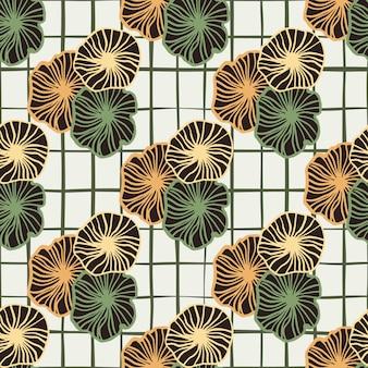 オレンジと緑の輪郭を描かれた花飾りのシームレスな落書きのパターン。黒のチェックと白い背景。