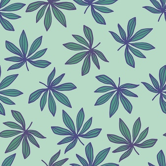 Seamless doodle pattern with outlined sheet print. cannabis leaves in green and blue colors on light pastel backgrouund. perfect for wallpaper, wrapping, textile print, fabric.  illustration Premium Vector