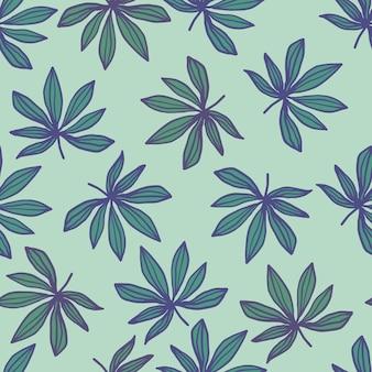 輪郭を描かれたシートプリントでシームレスな落書きのパターン。大麻は明るいパステル背景に緑と青の色で葉します。壁紙、ラッピング、テキスタイルプリント、ファブリックに最適です。図