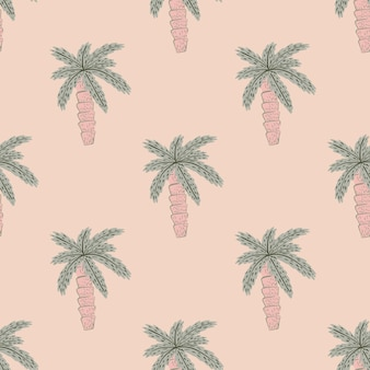Seamless doodle pattern with pale palm tree exotic shapes