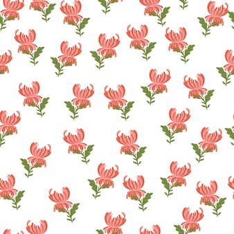 분홍색 국화 꽃이 인쇄된 매끄러운 낙서 패턴입니다. 심플한 스타일. 격리 된 꽃 배경입니다. 끝없는 그림. 섬유, 직물, 선물 포장, 월페이퍼에 대한 평면 벡터 인쇄.